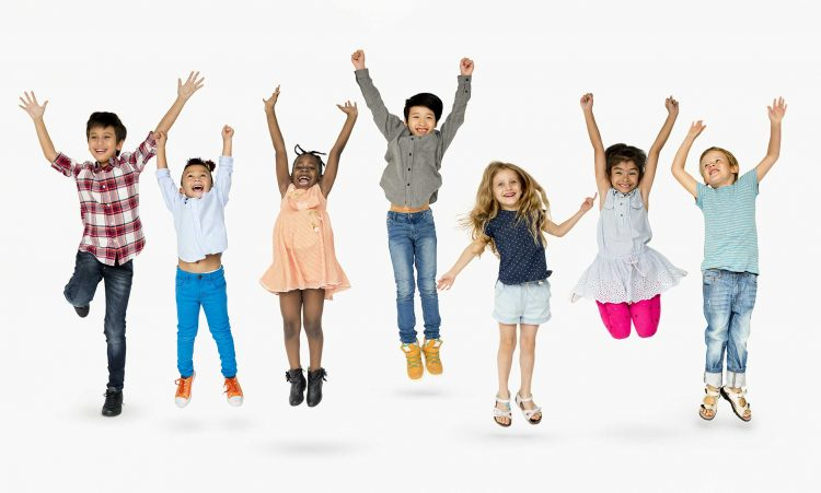 Kids jumping with pleasure